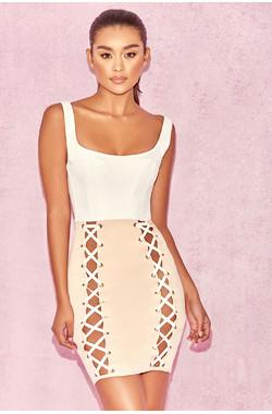 Omari White & Nude Corset Lace Up Dress