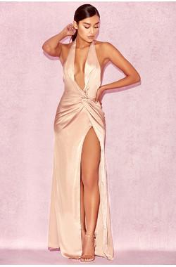 'Soraya' Nude Satin Thigh Split Maxi Dress