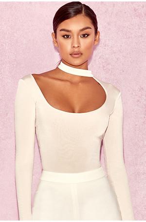Kataya Off White Silky Jersey Cut Out Bodysuit