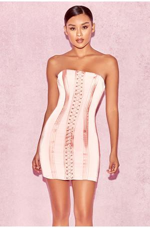 Surin Rose Pink Strapless Boned Mini Dress