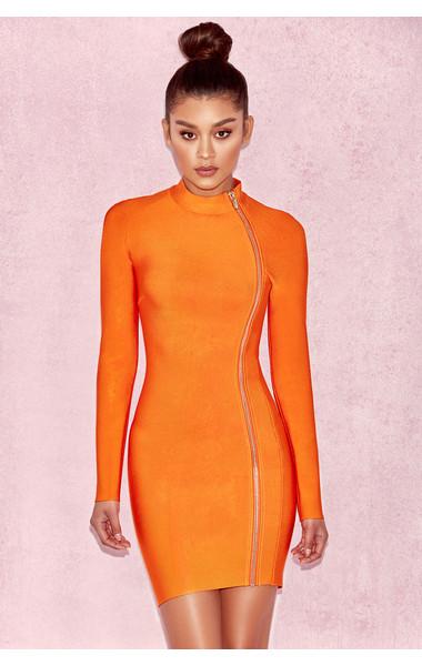 Eliza Orange Bandage Curved Zip Mini Dress