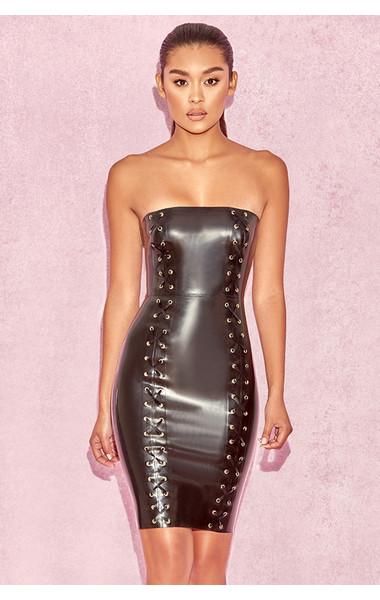 Kaia Black Latex Strapless Dress