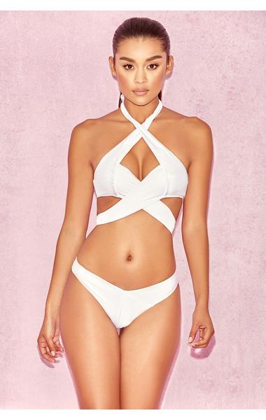 Virginie White Double Cross Over Two Piece Swimsuit Bikini