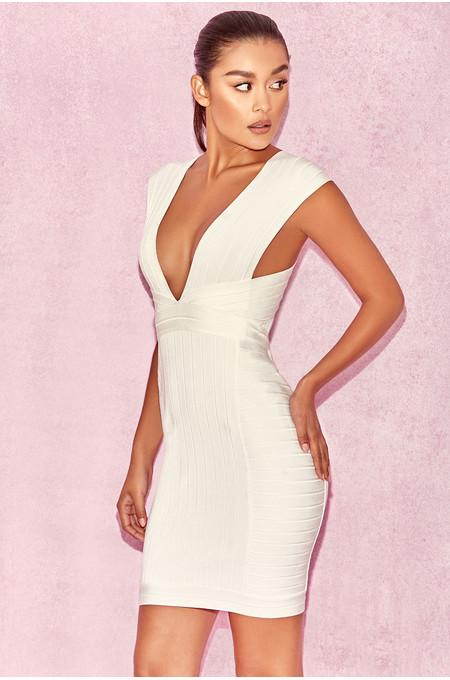 Alvarez White Plunge Front Bandage Mini Dress
