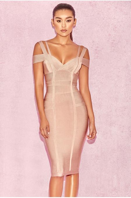 Mimi Taupe Off Shoulder Lurex Bandage Dress