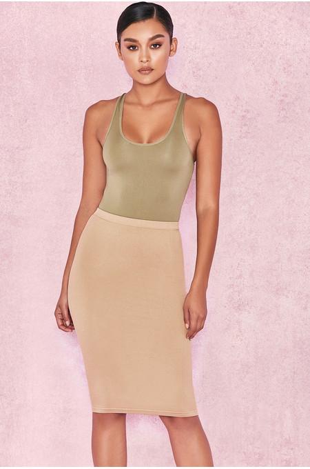 'Shahla' Tan Seamless Knit Pencil Skirt