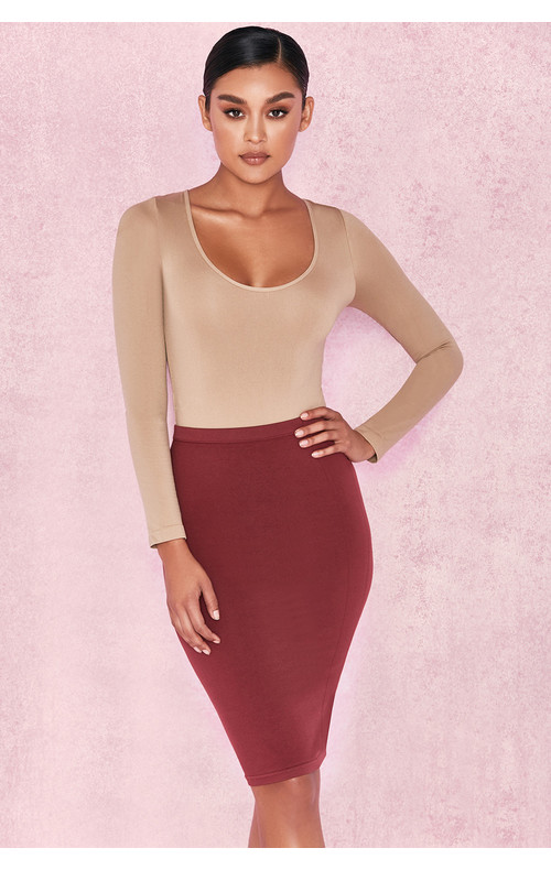 'Shahla' Burgundy Seamless Knit Pencil Skirt