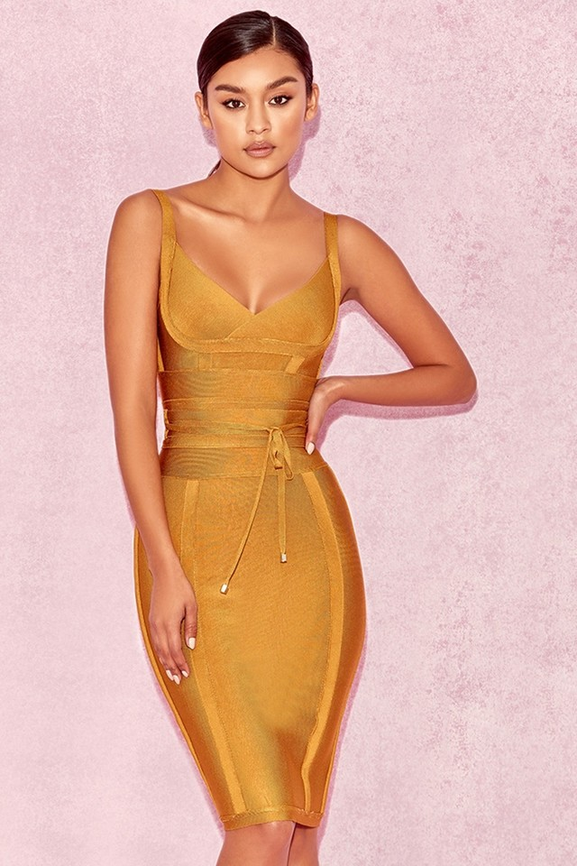 Belice Ginger Tie Waist Bandage Dress
