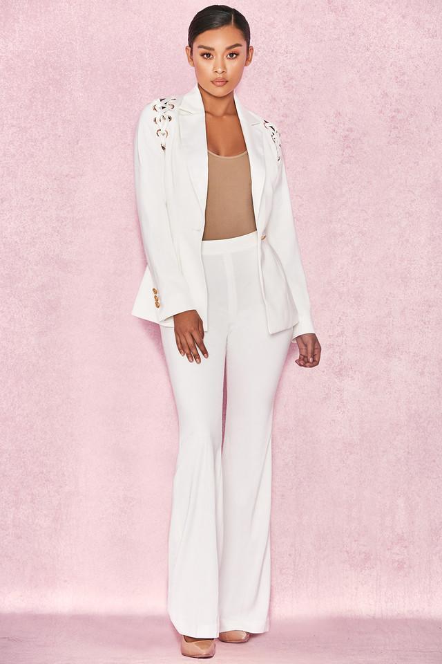 Nayeli White Shoulder Lace Up Trouser Suit