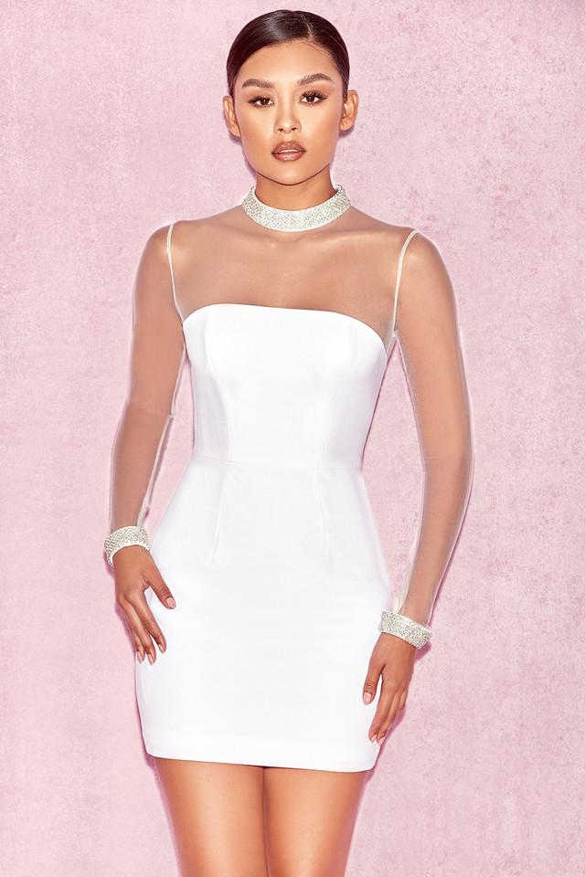 Niseka White Pearl Embellished Dress