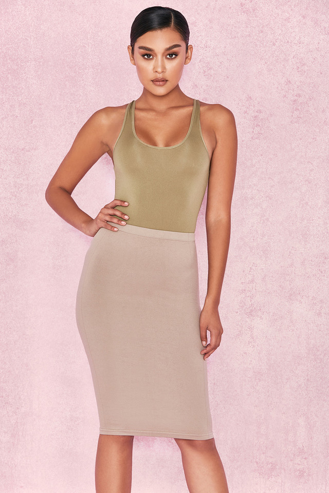 Shahla Taupe Seamless Knit Pencil Skirt