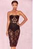 Erene Black Bandage & Sheer Mesh Strapless Dress
