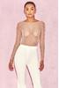 Kaeja Nude Embellished Crystal and Pearl Bodysuit