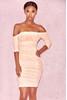 Tahan Blush Gathered Mesh Off Shoulder Dress