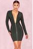 Valeria Evergreen Deep V Front Bandage Dress