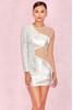 Zia Silver & Nude Sequin Mesh Dress