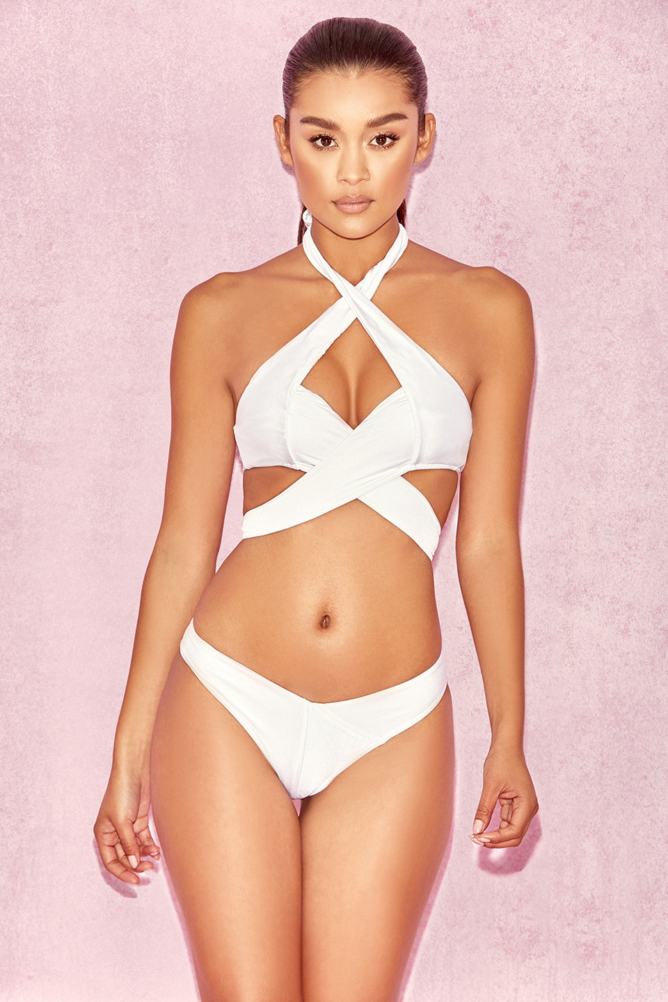 Virginie White Double Cross Over Two Piece Swimsuit Bikini