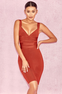 Charmagne Rust Rib Bandage Dress