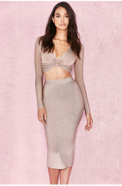 Giannelli Beige Midi Length Bandage Skirt