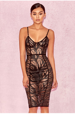 Ricio Black & Nude Sheer Tulle Dress