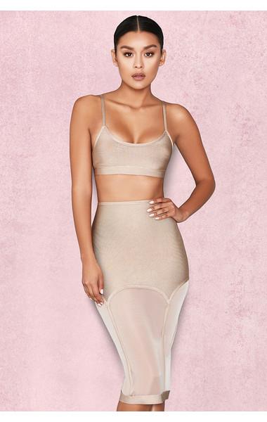 Kady Nude Bandage Suspender Skirt
