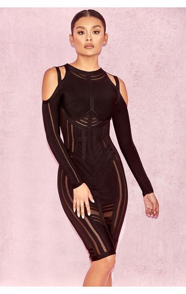 Madrina Black Bandage Cold Shoulder Dress