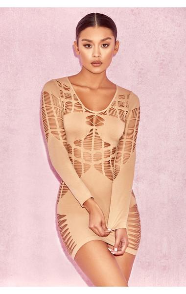 Mahina Nude Ladder Luxe Knit Dress