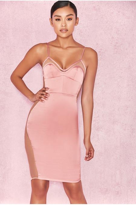 Antares Dusty Pink Satin Bralet Dress