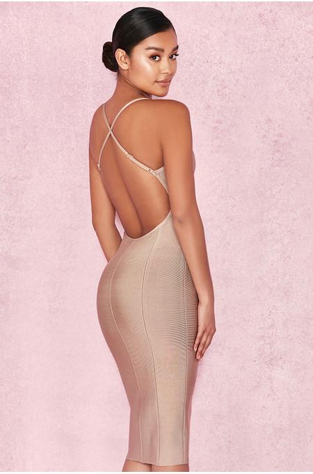 Enida Stone Backless Midi Bandage Dress