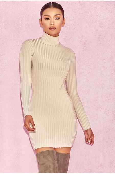 Mayxa Stone Rib Bandage Turtleneck Dress