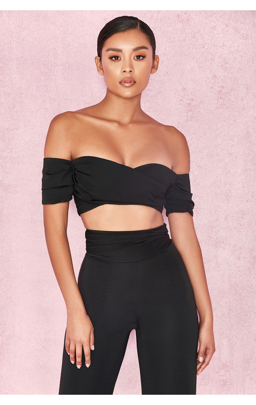 Evita Black Satin Off Shoulder Twist Top
