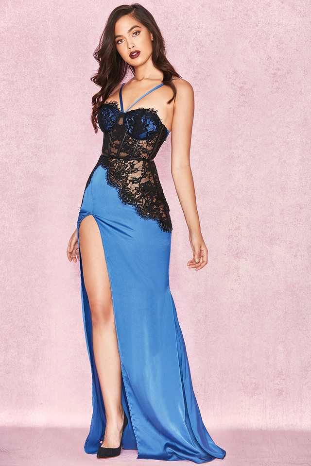 Akuru Sapphire Blue & Black Satin Lace Maxi Dress