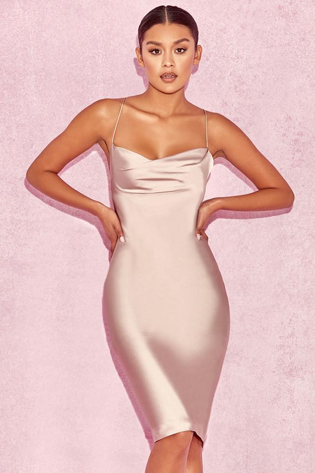 'Alette' Champagne Satin Cowl Back Dress