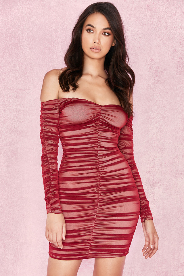 Fifi Wine Red Stretch Tulle Dress