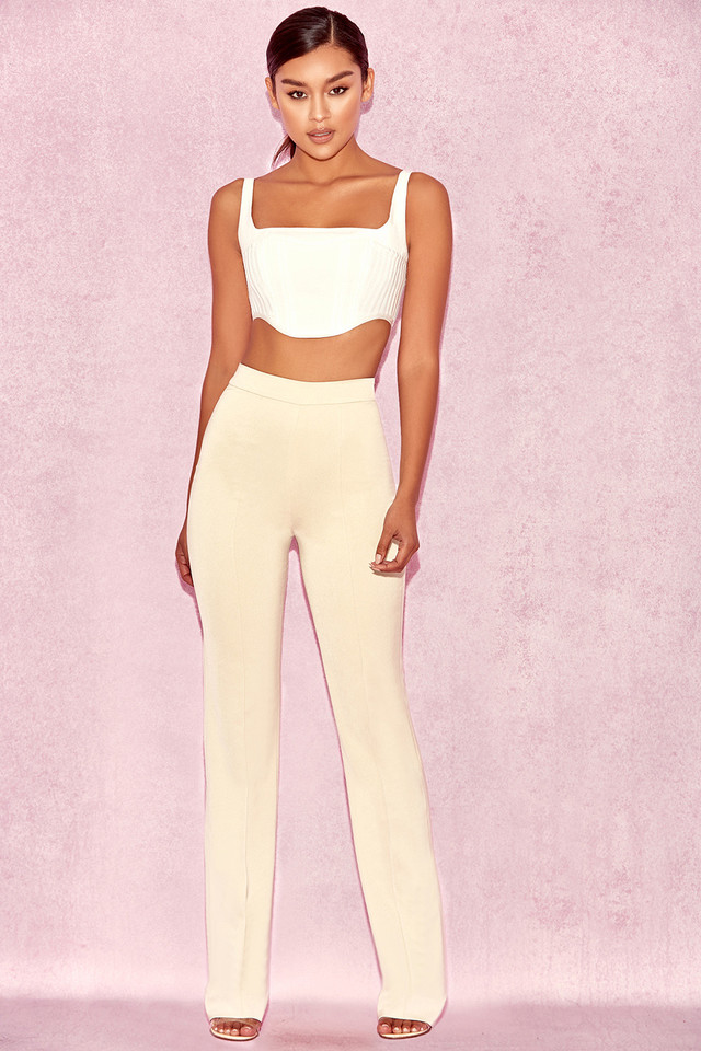 Kasira Beige High Waist Trousers