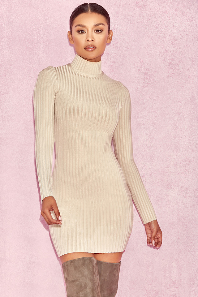 Mayxa Stone Rib Bandage Turtleneck Dress