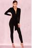 Marcienne Black Silky Jersey Wrap Jumpsuit