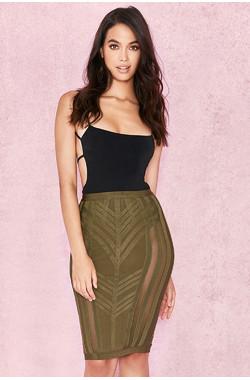 Anish Khaki Bandage Pencil Skirt