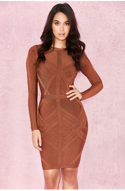 Calliope Rust Weave Detail Bandage Dress
