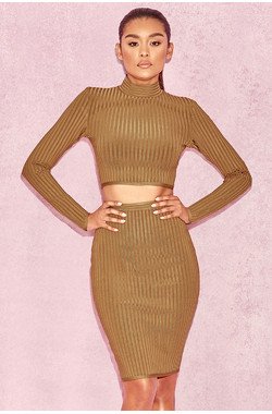 Floradita Tan Ribbed Bandage Two Piece