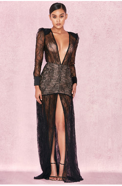 Griffe Black Lace Super Plunge Maxi Dress