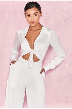 Ornella White Silky Shirt Bodysuit
