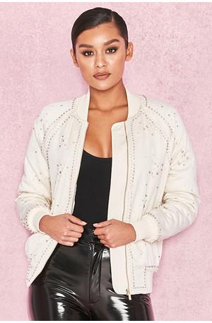 Mia Cream Satin Bomber with Pearl Crystal Embellishments