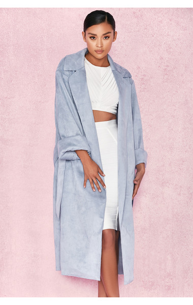 Kiti Duck Egg Blue Suedette Trench Coat