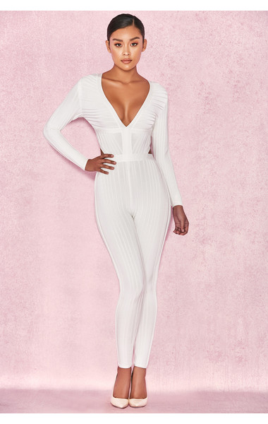 Arya White Plunge Neck Jumpsuit