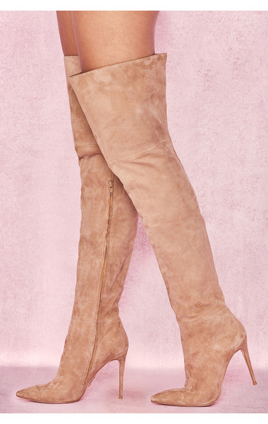 Extraordinaire Tan Real Suede Thigh Boots