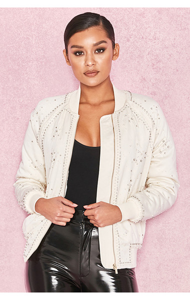 Mia Cream Satin Bomber with Pearl Crystal Embellishments