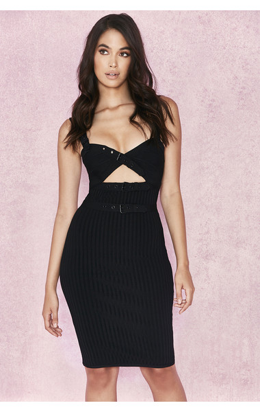 Octavia Black Ribbed Bandage Dress with Buckles