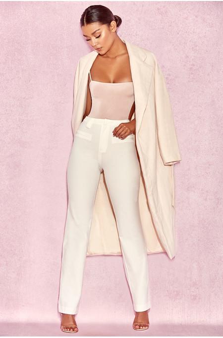 Luna Cream Asymmetric Wool Mix Oversized Coat