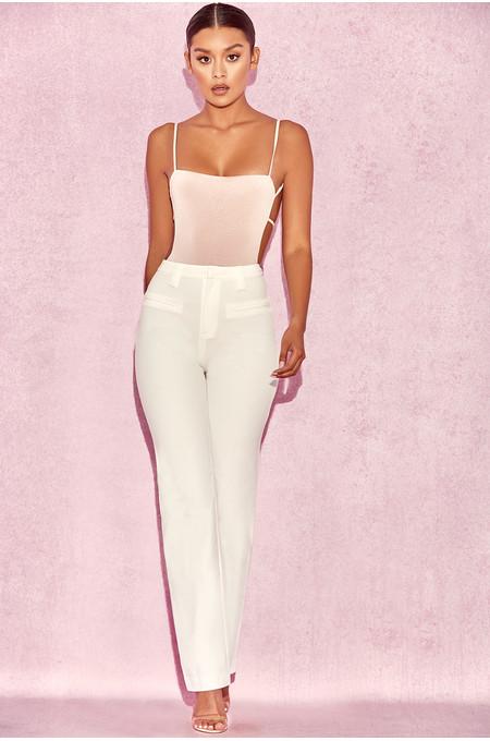 Cristo White High Waist Trousers